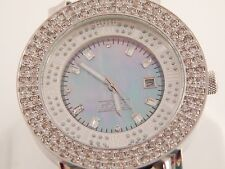 Men's Designer Freeze Large Diamond Face Watch 4.50 tcw F/SI Estate Leather Band