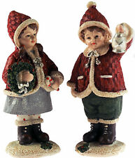Set Of 2 Red Christmas Traditional 14cm Winter Children Figurines