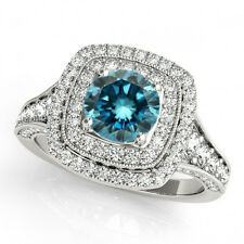 Fancy Blue Diamond Double Halo Solitaire Ring 14k White Gold 1.33 Carat Gorgeous