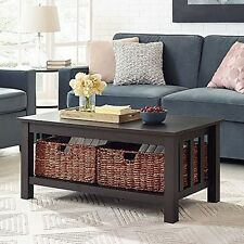 WE Furniture C40MSTES 40In Wood Storage Coffee Table With Totes-Espresso  NEW