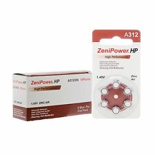 60 ZeniPower Hearing Aid Batteries Size 312 + Free Keychain/2 Extra Batteries