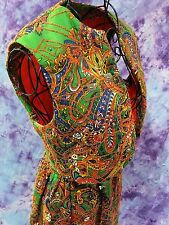 Vintage Hippie Boho Ethnic Vest Skirt Green Red Embroidery Metal Sequins Sz XS