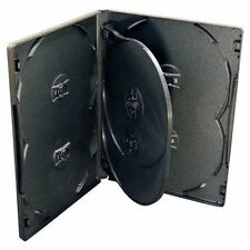 10 x 6 Way Black DVD 14mm Spine Holds 6 Discs New Replacement Case High Quality