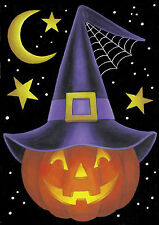 NEW LARGE TOLAND HALLOWEEN FLAG THE WITCH PUMPKIN MOON & STARS SIZE 28  X 40