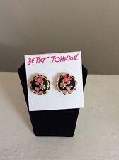 $35 Memoirs Of Betsey Johnson Black Flower Stud  Button Earrings