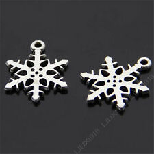20pc Tibetan Silver Christmas Snowflake Pendant Charms Beads DIY Findings 344AF