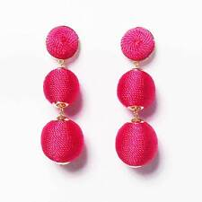 3-TIERS OF PINK SILKY SHEEN DISCO BALL DROP STATEMENT EARRINGS