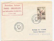 LETTRE / PREMIERE LIAISON PARIS BRUXELLES PAR HELICOPRERE SABENA 1957