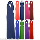 New Ladies Womens Sleeveless Tie Halter Neck Low Back Maxi Dress Plus Size 16-22