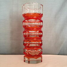 """Vintage Murano Art Glass Sommerso Vase Cut Stacked Faceted Geode Octagon Red 9"""""""
