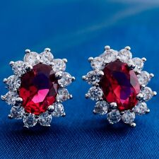 Wonderful Round Cubic Zircon Design White Gold Filled Women Lady Stud Earrings