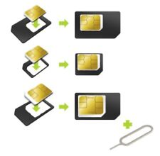 LOT 3 ADAPTATEURS NANO SIM  MICRO SIM -  IPHONE Samsung CARTE Plus Clef Metal