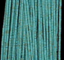 2MM TURQUOISE GEMSTONE GREEN ROUND TUBE HEISHI 2MM LOOSE BEADS 12""