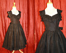 Goth Fem Fatel Vtg Blk Taffeta Full Skirt GUNNE SAX Party Prom Dress S