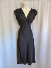 Max Mara Dress Sheer Silk Black Long Side Zipper Size 6 US Italy