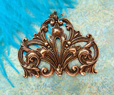 ANTIQUE COPPER Flourish Leaf Scroll Crest Stamping - Jewelry Findings (FA-6081)