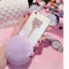Crystal Mickey Bowknot Fur Ball Soft TPU Back Case Cover For iPhone 7 7Plus 6 6s