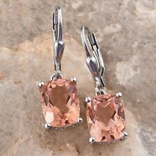 Morganite in Platinum Over Sterling Silver Lever Back Earrings TGW 4.6 cts NWT