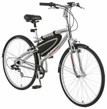 Schwinn Skyliner 700c Hybrid Bike, Silver/Red *Free front/rear lights & bar bag*