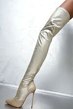 1969 OTK boots 13 cm Sexy gold gelb or fetish sky overknee high heels 39 40 41