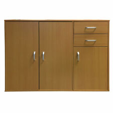 Beech Sideboard Chest Cabinet Storage Unit Double & Single Cupboards Two Drawers