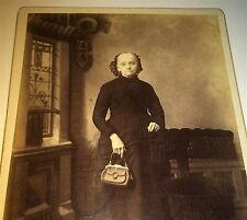 Antique Victorian American ID'd Old Woman with Purse! Indiana Cabinet Card Photo