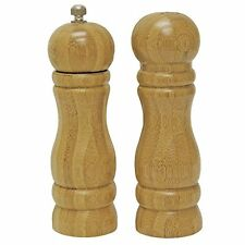 Wooden Set Salt and Pepper Mill Grinder Pot Shakers powdery  16 cm NEW