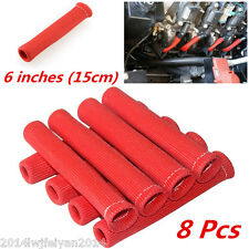 8pc Red 1200° Spark Plug Wire Protector Cover Heat Shield Sleeve SBC BBC 350 454