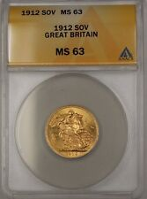 1912 Great Britain Sovereign SOV British Gold Coin ANACS MS-63