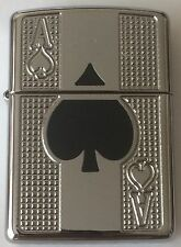 Zippo Armor Deep Carved Lighter With Enamel Filled Ace Of Spades, 53467, NIB
