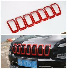 7x Front Grille Inserts Mesh Grill Accessories Red For JEEP Cherokee 2014-2016
