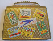 Novelty BOAC Airlines Figural SUITCASE compact - circa 1940s from Great Britain