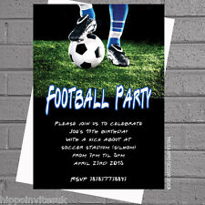 Boys Personalised Football Soccer Birthday Party Invitations x 12 +envs H0412