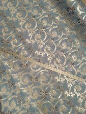 "Damask Brocade Silver/ Purple/ B. Blue In a Jacquard 60"" By The Yard"