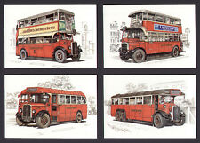 LONDON TRANSPORT PRE-WAR RED BUSES--SET OF 4 POSTCARDS