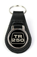 Triumph TR250 Logo Quality Black Leather Keyring