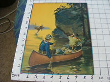 small PIN UP picture/poster LITHO. Hunting men in Canoe deer jumping from Wolves
