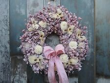 Dried Flowers Wreath Spring Summer Gift English Country Shabby Chic Butterflies