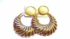 CLIP-ON EARRINGS GOLD TONE SCALLOP HOOP EARRINGS ASSORTED COLORS 3 INCH L 2 IN W