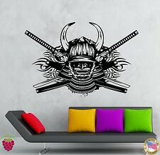 Wall Stickers Vinyl Decal Samurai Swords Helmet With Hornes Katana  (z2151)