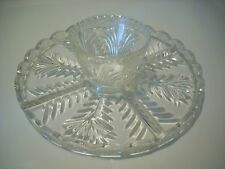 Clear Heavy Glass Crystal Cake Stand Vegetable Chip Dip Tray Lazy Susan Snack