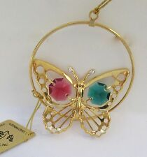 Ornament-Butterfly in Circles - Austrian  Crystals 24K gold plated -green red