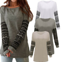 Plus Size 8-26 Womens Loose Casual Long Sleeve T Shirt Tops Blouse Oversized Tee