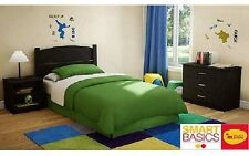 3-Pc Twin Bedroom Set in Pure Black Dorm Furniture Bed Desk Chest Nightstand