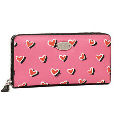NWT Coach Heart Print Zip Around Wallet Pink Multi F 52563