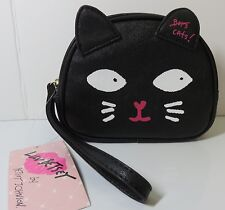 NWT BETSEY JOHNSON LUV BETSEY BLACK CAT NO BOYS COSMETIC BAG MAKEUP WRISTLET