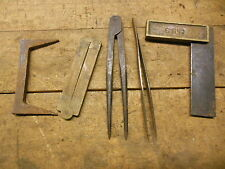 "Vintage layout tools old brass square Stanley 36 wood rule 5"" dividers pinch dog"
