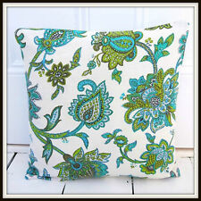 Vintage 60s 70s cushion cover blue paisley turquoise teal green floral retro fab