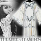 VINTAGE DRESS LACE 70s WEDDING INDIAN 8 10 12 14 16 WHITE CROCHET HIPPY BOHO 60s