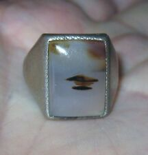 Sterling Silver Ring w/Picture Agate Unmarked Size 10.5 Excellent Used Condition
